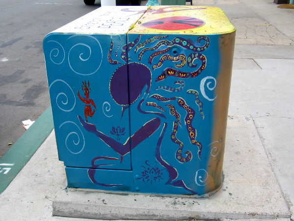 Exotic street art on an electrical box.