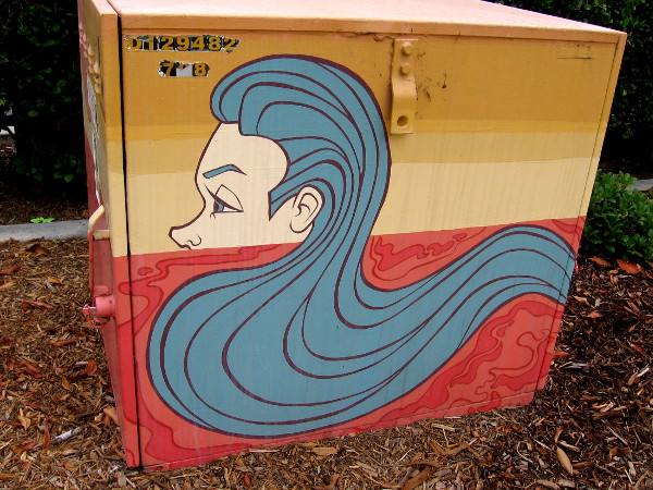 Long blue hair like waves of water.