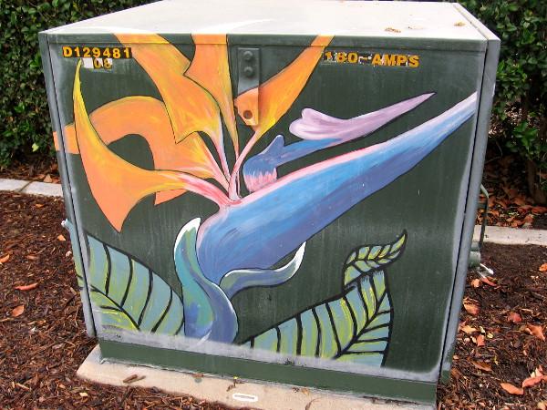 Colorful bird-of-paradise flower street art.