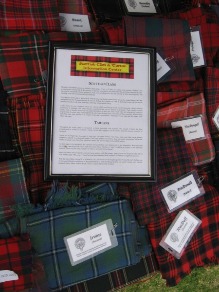 The Scottish Clan and Tartan Information Center had different plaid tartans on display, many with ancient origins.
