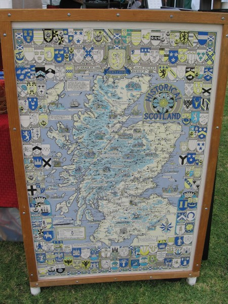 I saw many maps of historical Scotland, some showing heraldic coats of arms.