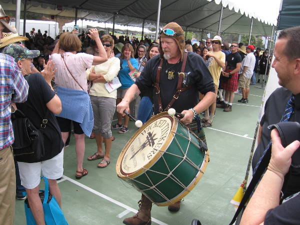 Drummer for the Wicked Tinkers gets the crowd enthused as he works his way through the beer garden.
