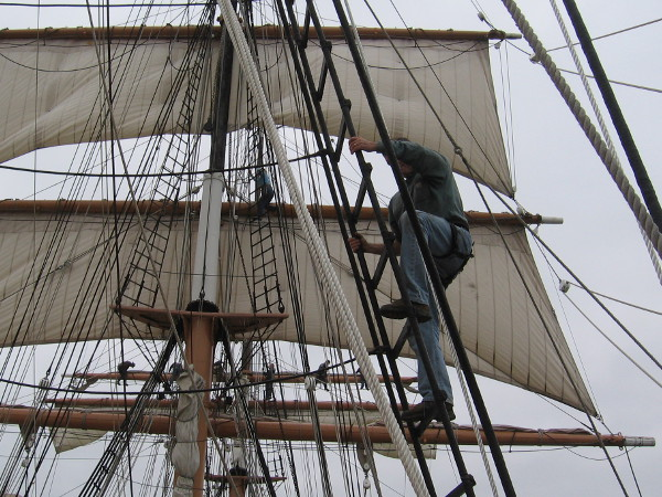 Climbing into clouds of sail.