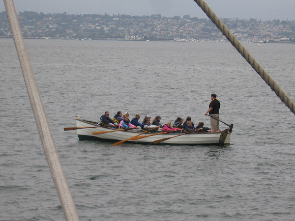 The museum's longboat was out on San Diego Bay. An overcast but very pleasant start to the morning.