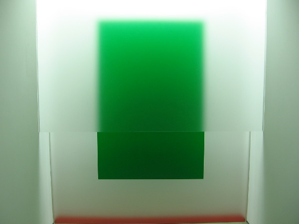 Green, Red-Orange, 2018, by artist Michael James Armstrong. Acrylic sheet, fluorescent light, spray paint.