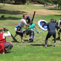 Medieval knights mock fight in Balboa Park!