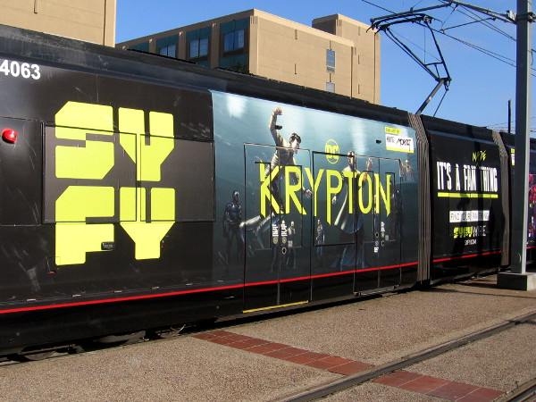 The first trolley wrap for 2018 San Diego Comic-Con features two Syfy shows--Krypton and HAPPY!
