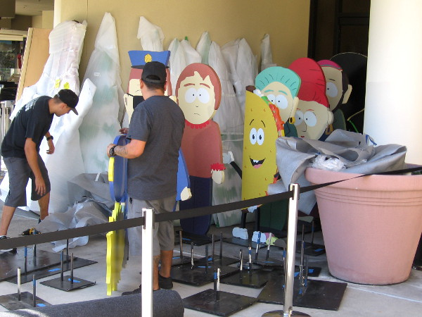 Characters from South Park are readied outside a Comic-Con escape room being prepared at the Comedy Central offsite.