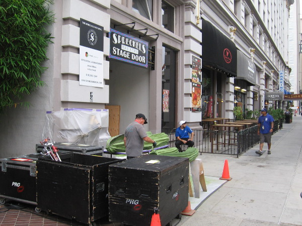 Equipment for the Conan O'Brien show during Comic-Con is being moved into the Spreckels Theatre.
