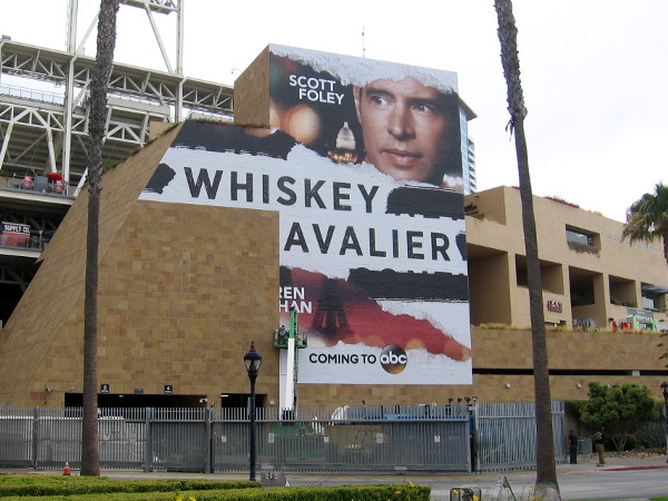 Petco Park's Whiskey Cavalier wrap is still being applied.
