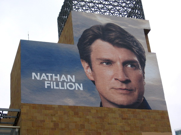 This wrap on Petco Park showing Nathan Fillion promotes the ABC show The Rookie.