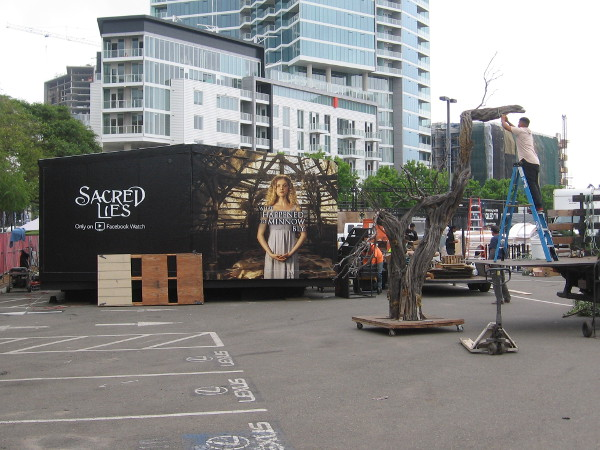 Getting a tree ready at the Experience at Comic-Con, near the Sacred Lies activation.