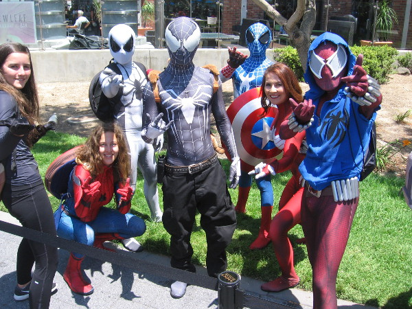 It's the whole Spiderman and Venom gang! Looks like they overpowered Captain America and got his shield!