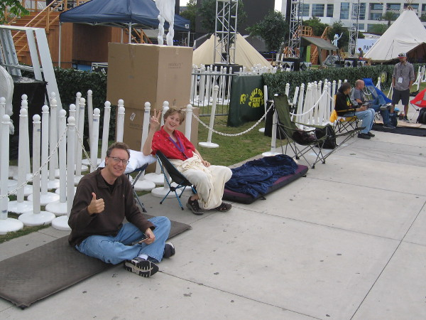 These guys are the very first in line for Hall H, at 2018 San Diego Comic-Con. They were super friendly, excited and ready to go!