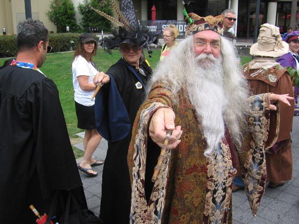 Professor Minerva McGonagall and Albus Dumbledore cosplay at 2018 San Diego Comic-Con.