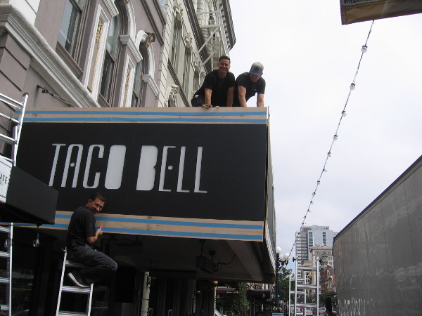 Taco Bell was getting their Demolition Man pop up ready in the Gaslamp. Nacho fries will be served.