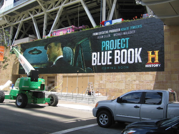 The History wrap on Petco Park this year promotes Project Blue Book.