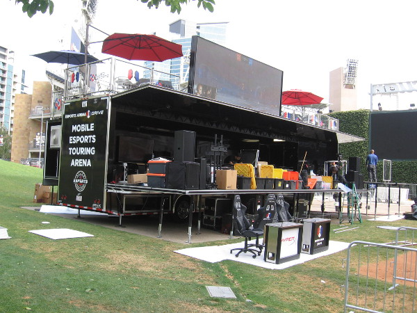 The Mobile Esports Touring Arena is set up over the kids' baseball field in Park at the Park.