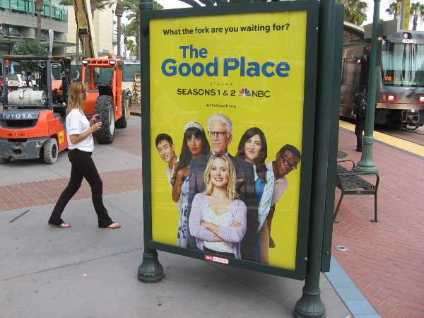 Various NBC posters have been placed about the Gaslamp trolley station.