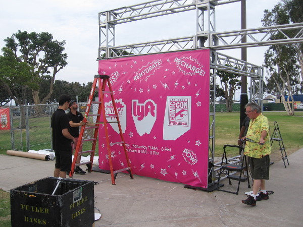 Getting the entrance to the Lyft Lounge at Comic-Con Village ready on Wedsnesday morning.