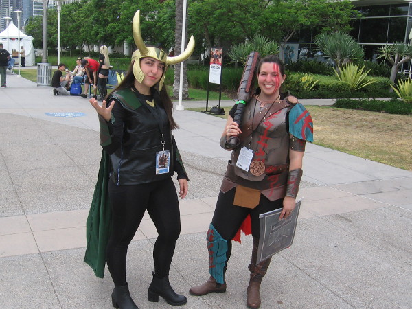 Loki and Thor cosplay. That weapon looks like the one Thor used on Sakaar fighting Hulk.