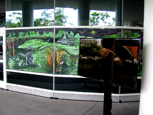 The Starbucks at the Hilton Bayfront has been converted into a small Jurassic World.