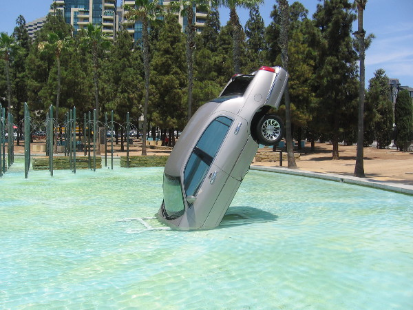 A car appears to have mysteriously crashed into the Childrens Park fountain! It's part of the Castle Rock offsite for 2018 San Diego Comic-Con. Surprises await visitors around every corner.