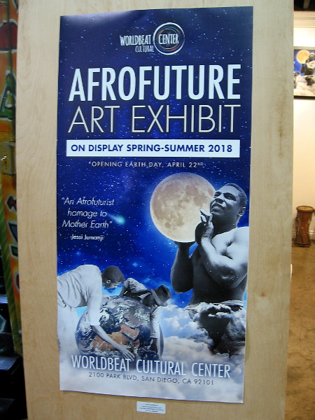 The Afrofuture Art Exhibit will be on display through Summer 2018 at the Worldbeat Cultural Center in Balboa Park.