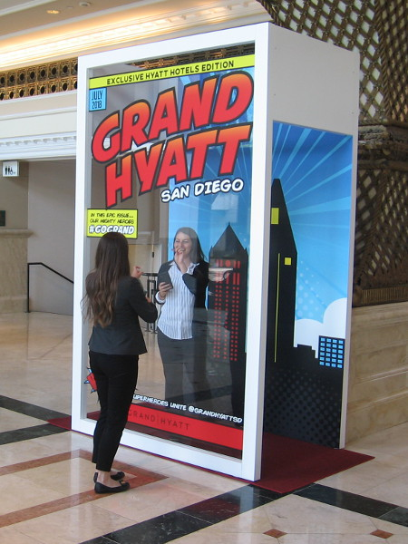 A fun photo booth puts visitors into a comic book at the Manchester Grand Hyatt.
