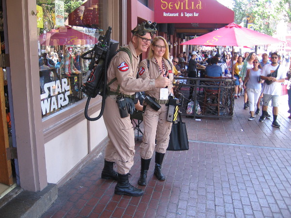 Ghostbuster cosplay in the Gaslamp during 2018 San Diego Comic-Con.