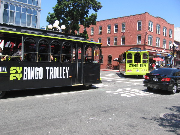 Syfy Bingo Trolleys were going around the Gaslamp full of contestants.