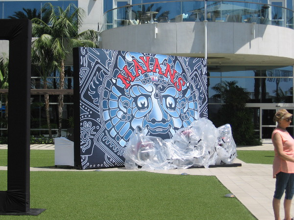 Cool mural for Mayans MC in courtyard by the Hilton San Diego Bayfront.
