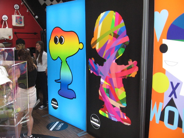I poked my camera for a quick shot inside the Peanuts Pop-Up Shop. Psychedelic Snoopy!