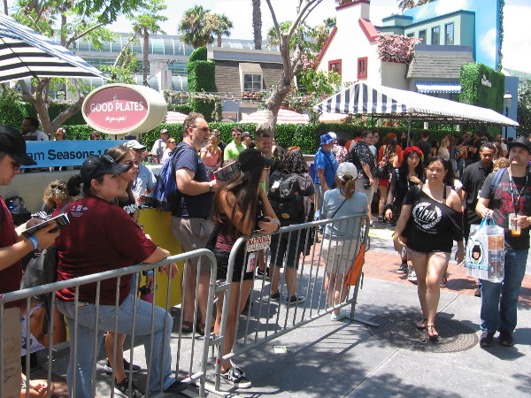 Comic-Con fans line up by the Good Plates restaurant to get into The Good Place.