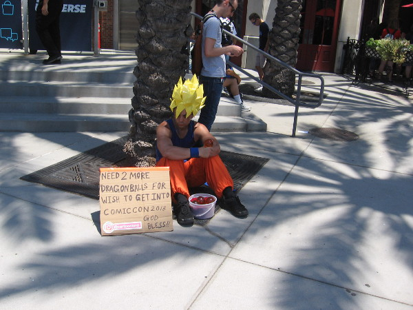This poor guy near the DC Universe Experience desperately needs 2 more dragonballs. Good luck!