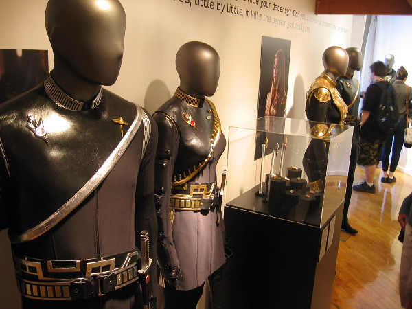 Many fantastic uniforms, props and weapons are on display at the Star Trek: Discovery Mirror Universe Exhibit at 2018 San Diego Comic-Con.