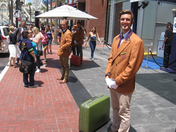 Polite, well-groomed bellhops were out promoting upcoming movie Bad Times at the El Royale.
