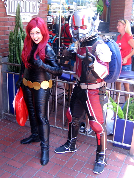 Fortunately, more heroic Avengers are present. It's Black Widow (the red-haired version) and Ant Man!