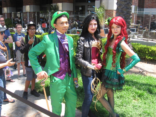 Great cosplay at 2018 San Diego Comic-Con. Riddler, Wonder Woman and Poison Ivy!