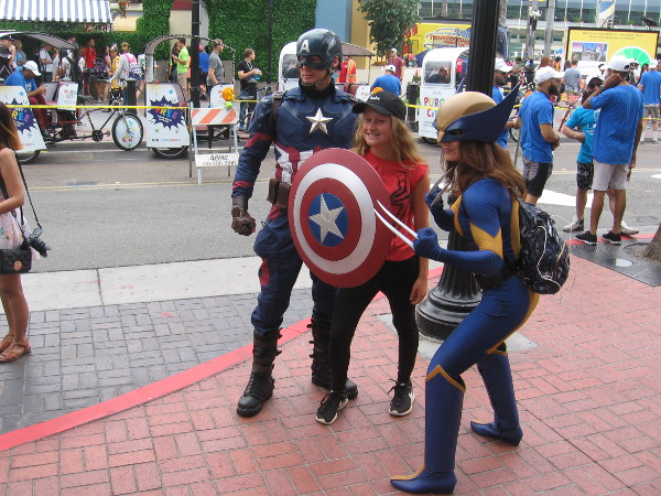 Captain America and Wolverine cosplay.