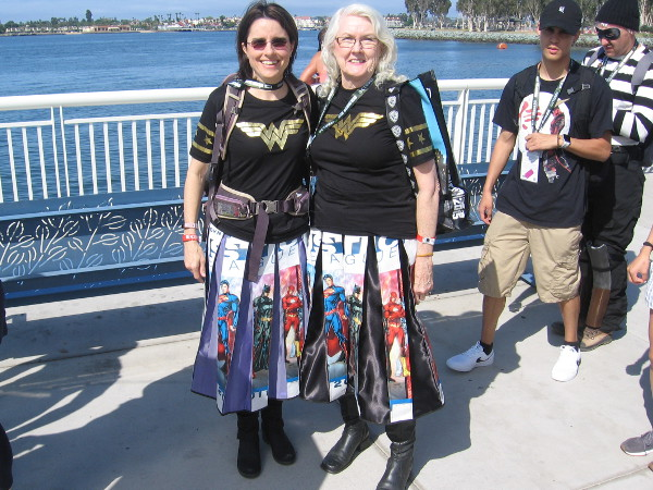 These Wonder Women made cool skirts out of old Justice League swag bags!