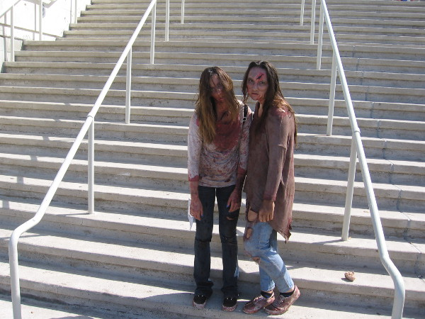 These zombies paused for a photo at the foot of the steps up to the convention center.