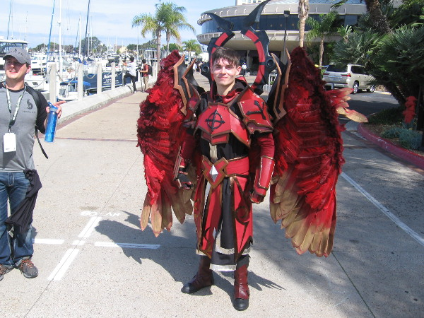 Check out this awesome cosplay! It's Fire Archangel Velajuel, a Summoners War Sky Arena Monster.