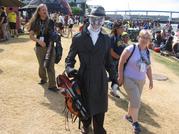 Rorschach cosplay. Somehow he could make the inkblot on his mask change appearance.