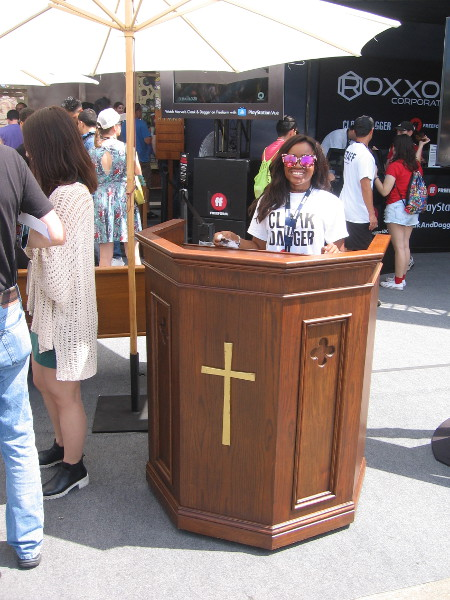 At the Cloak and Dagger activation, this nice lady seemed about ready to give a sermon.