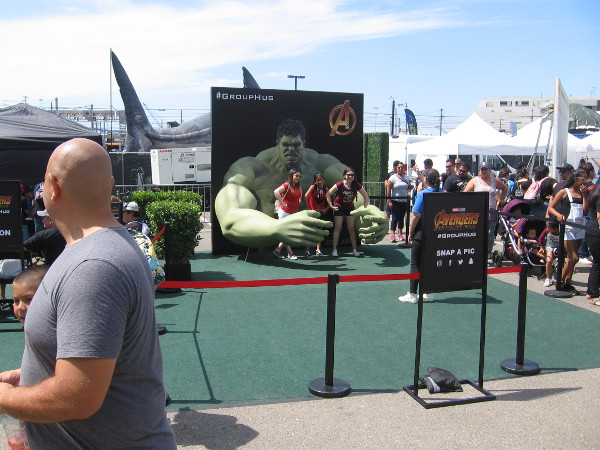 Hopefully Hulk doesn't become too angry when you get your group hug at the Marvel activation.