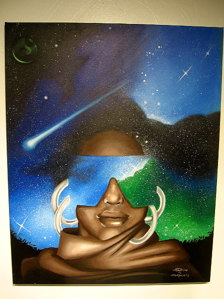 A female face in the cosmos, by @caegallery.