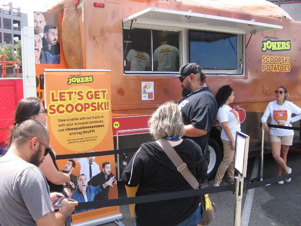 The Impractical Jokers had a food truck serving Scoopski Potatoes.