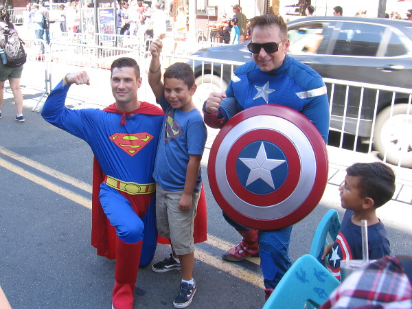 Everyone likes posing with superheroes.