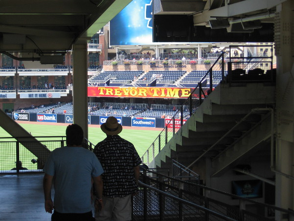 Padres fans enter Petco Park before a home game against the Diamondbacks to watch the induction of Trevor Hoffman into the baseball Hall of Fame live on the big video board.